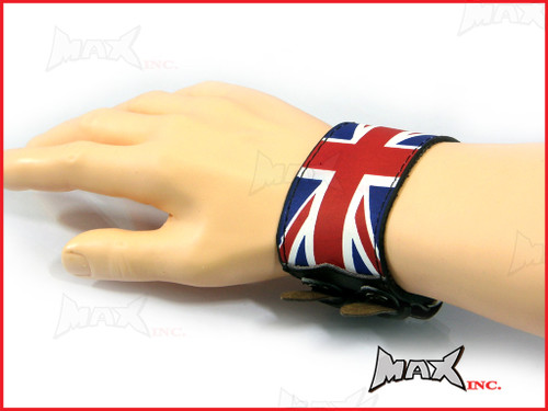Union Jack Bikers Black Wristband - PU Leather