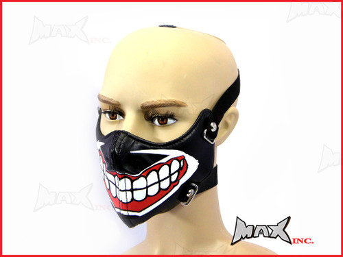 Black Grin Bikers Face Mask - PU Leather