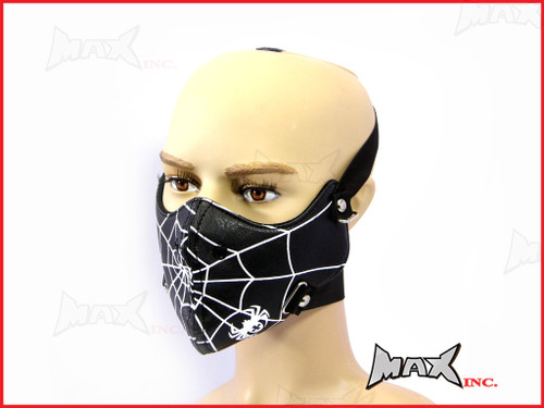 Black Spider Web Bikers Face Mask - PU Leather