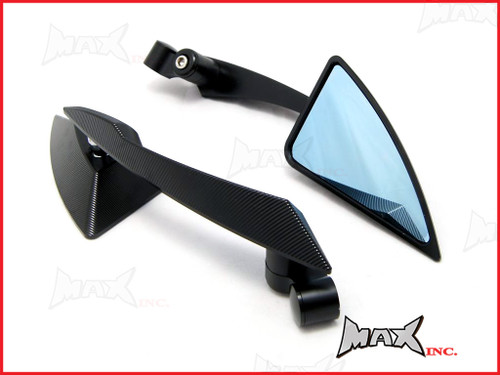 Pair Of Black CNC Machined Billet Aluminium Razor Mirrors - M8 & M10 Thread Kit