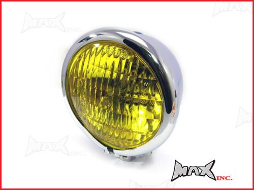 4.75 INCH Chrome Bates Style Metal Headlight - Yellow Lense
