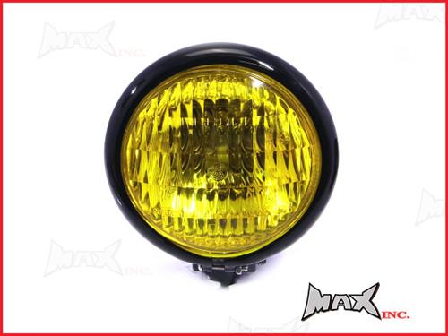 4.75 INCH Black Bates Style Metal Headlight - Yellow Lense