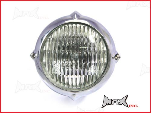 5.5 INCH Polished Aluminium Vintage Style Bottom Mount Headlight - 12v / 35w