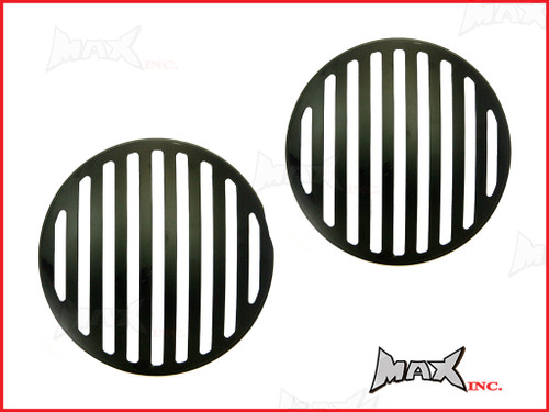 7 INCH Matte Black Prison Bar Grill Metal Headlight Covers - Pair