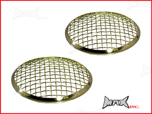 7 INCH Brass Chrome Mesh Grill Metal Headlight Covers - Pair