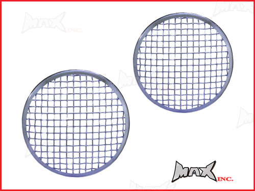 7 INCH Chrome Mesh Grill Metal Headlight Covers - Pair
