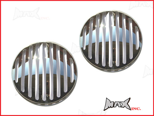 7 INCH Chrome Prison Bar Grill Metal Headlight Covers - Pair