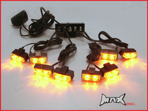 8 Piece Grill Mount LED Emergency Flashing Strobe Light Set - Amber