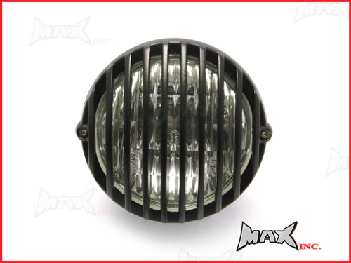 4.5 INCH Matte Black Alloy Scalloped Vintage Grill Headlight - 12v / 35w
