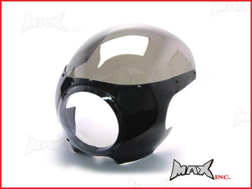 Black Cafe Racer Drag Racer Headlight Fairing + Smoked Windshield