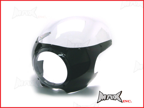 Black Cafe Racer Drag Racer Headlight Fairing + Clear Windshield