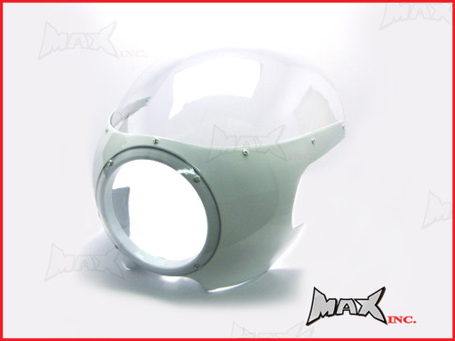 White Cafe Racer Drag Racer Headlight Fairing + Clear Windshield