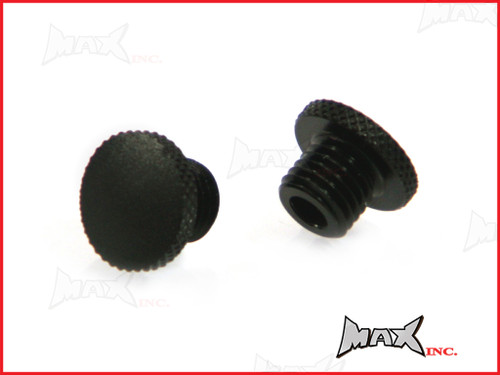 Black CNC Machined Billet Aluminium Threaded Mirror Block Off Plugs - 2 x M8 RH Threads