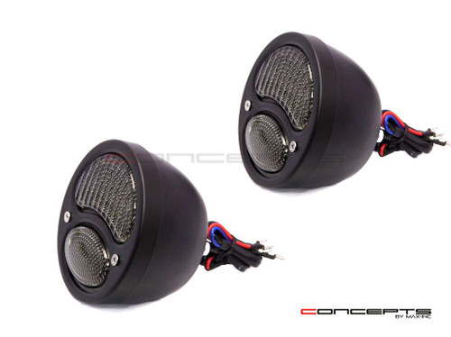 Pair Of Black Vintage Style Integrated LED Stop + Tail + Turn Signals - Smoked Lense