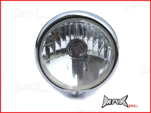 "5.75"" Bates Style Chrome Metal Headlight - 12v / 55w Halogen Bulb"