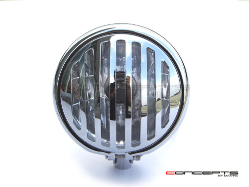 "5.75"" Bates Style Prison Grill Chrome Metal Headlight - 12v / 55w Halogen Bulb"