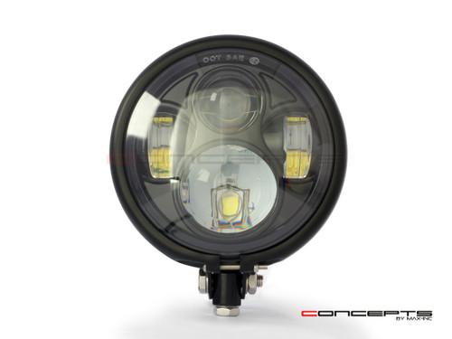 "5.75"" Bates Style LED Daymaker Matte Black Metal Headlight"