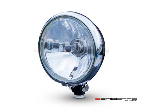 "5.75"" Bates Style Chrome / Gloss Black Metal Headlight - 12v / 55w"
