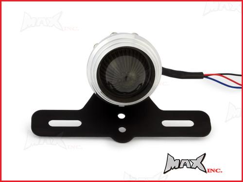 Polished Aluminium Studded Retro Style LED Stop / Tail Light - Smoked Lens