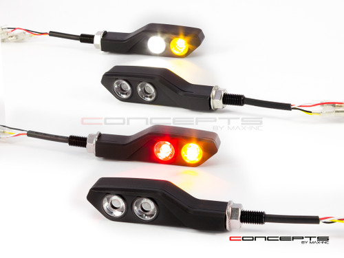 Black CNC Machined Aluminium Integrated Front & Rear LED Turn Signals - Set of 4