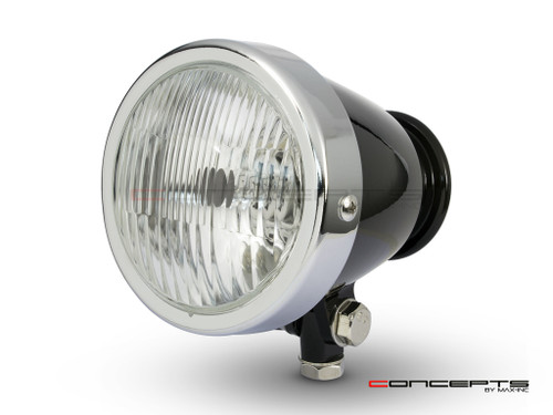 "4.5"" Gloss Black + Chrome Bottom Mount Vintage Style Universal Headlight"