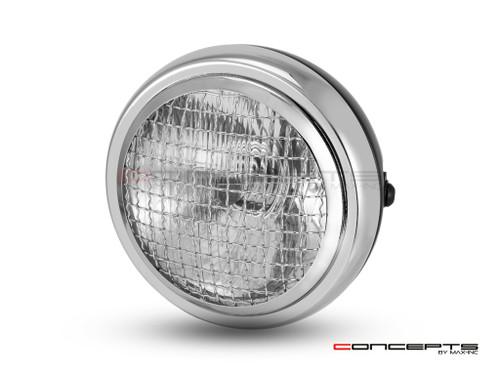"6"" Matte Black & Chrome + Mesh Grill Metal Classic Headlight - Emarked"