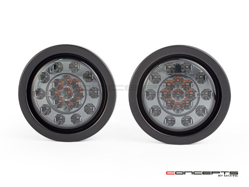"4"" Universal Flush Mount Integrated LED Stop Tail Light + Turn Signals - Smoked Lens"