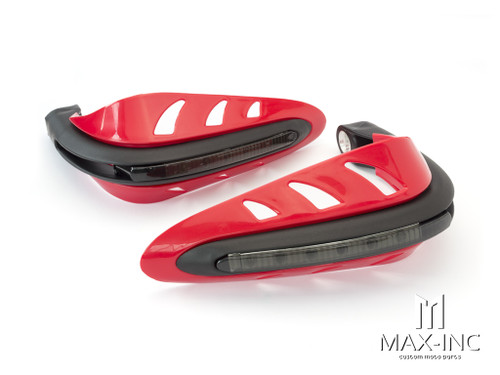 RED Universal Hand Guards with Integrated White LED Daytime Running Lights