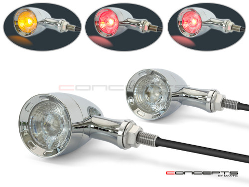 Chrome CNC Machined Billet Alum Custom Integrated LED Stop / Tail Lights + Turn Signals