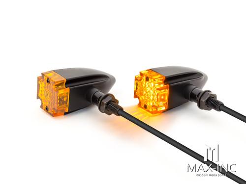 Maltese Cross Black Alloy Custom LED Turn Signals
