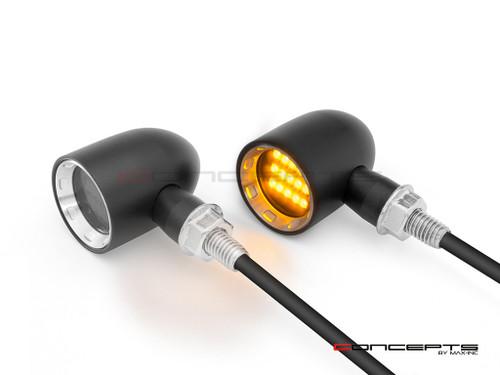 "MAX ""DERBY"" Black + Natural CNC Machined Alum Classic Mini LED Indicators / Turn Signals"