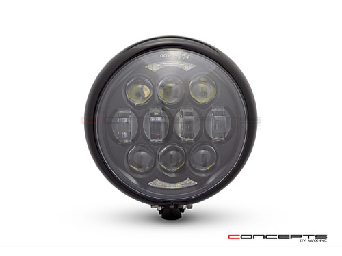 "5.75"" Bates Style LED Multi Projector Gloss Black Metal Headlight + DRLS"