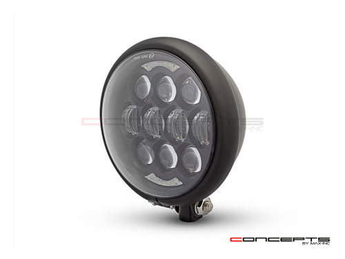 "5.75"" Bates Style LED Multi Projector Matte Black Metal Headlight + DRLS"