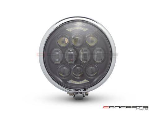 "5.75"" Bates Style LED Multi Projector Chrome Metal Headlight + DRLS"