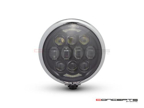 "5.75"" Bates Style LED Multi Projector Gloss Black + Chrome Metal Headlight + DRLS"