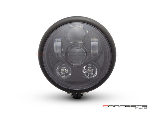 "5.75"" Bates Style LED Six Projector Matte Black Metal Headlight"