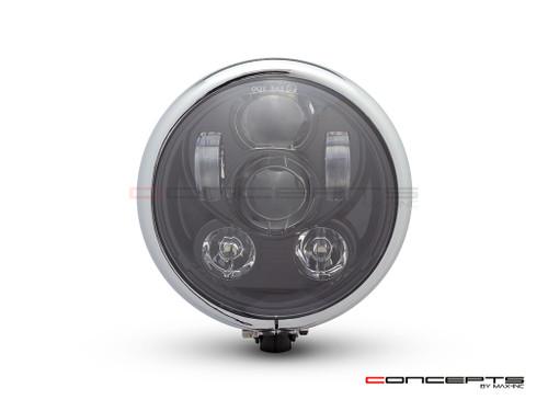 "5.75"" Bates Style LED Six Projector Gloss Black + Chrome Metal Headlight"