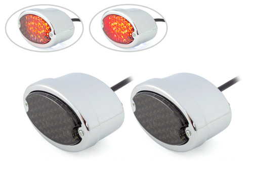 Classic Chrome Metal Oval Smoked Lens LED Stop / Tail Lights - Pair
