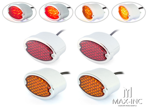 Classic Chrome Metal Oval LED Stop / Tail Lights / Turn Signals - Set Of 4