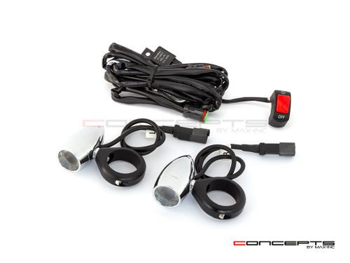 Chrome Aluminum Bullet Spot / Fog Lights + Complete Wiring Kit + Fork Clamps - 32/33mm