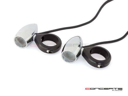 Chrome Aluminum Bullet Spot / Fog Lights + Complete Wiring Kit + Fork Clamps - 50/51mm