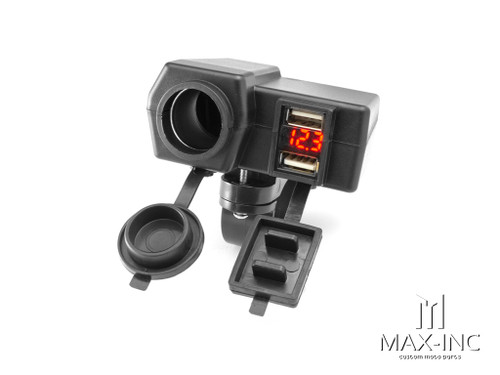 Universal Handlebar Mount 12v Socket + Twin USB + Voltmeter Power Supply- Fits 22-25mm Bars