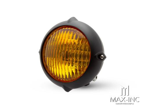 "5.5"" Black Alloy Vintage Style Headlight - Yellow Lens"