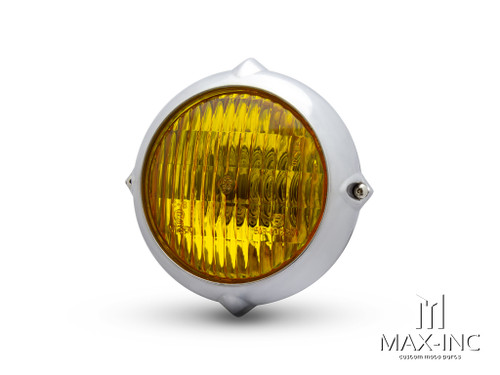 "5.5"" Polished Alloy Vintage Style Headlight - Yellow Lens"