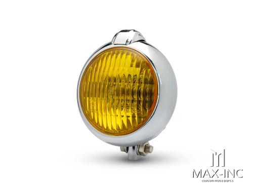 "5"" Chrome Metal Vintage Style Headlight - Yellow Lens"
