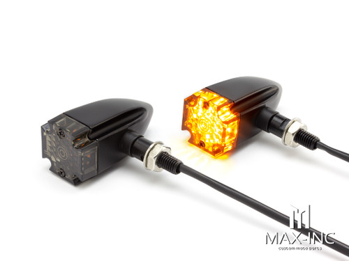 Maltese Cross Black Alloy Custom LED Turn Signals - Smoked Lens