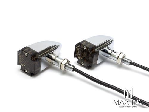Maltese Cross Chrome Alloy Custom LED Turn Signals - Smoked Lens