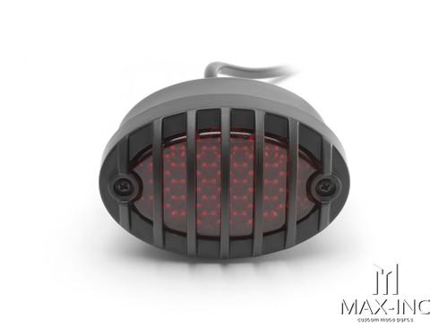Matte Black Metal Grilled Oval LED Stop / Tail Light - Red Lens