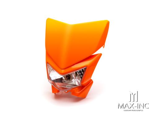 Orange Beasty Universal Supermoto Headlight Mask - 12v/35w