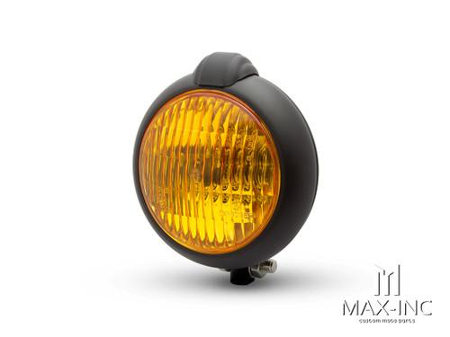 "5"" Matte Black Metal Vintage Style Headlight - Yellow Lens"